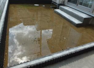 お庭の水溜まり、水はけの改善。加茂市の外構工事
