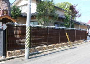 トタン塀から人工竹の大津垣に。和の外構リフォーム 新発田市S様邸