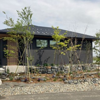 モダンな雑木と石積みの庭 平屋の庭・外構デザイン