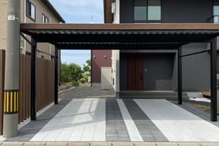おしゃれでかっこいいカーポート 新潟市西区スタイリッシュな住宅