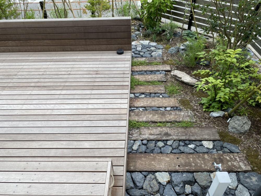 玄関から続く、枕木と黒割石のアプローチ。雑草対策も兼ねています。