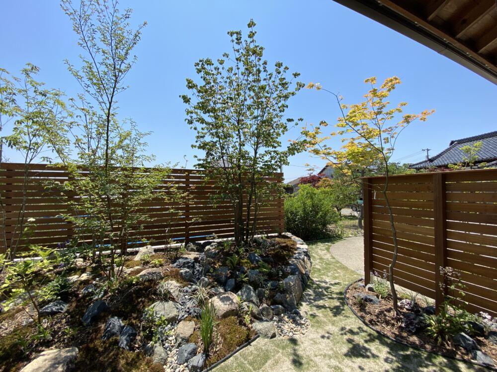 デッキ側から玄関アプローチを眺めて。 フェンス足元には日陰でも育つ植物を植栽。 庭の動線にはお子様方が転んでもケガがしにくく、夏の照り返しを軽減させる芝生を貼りました。