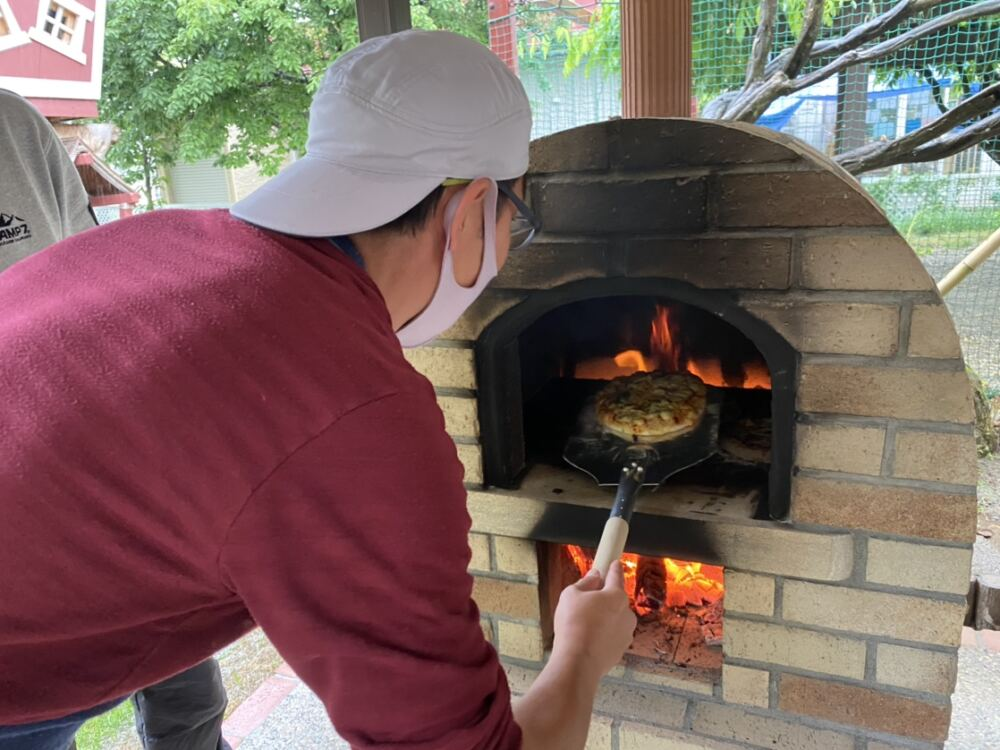 ピザ窯火入れ式